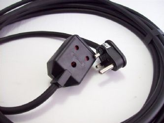 2m 15amp round pin plug/socket extension lead